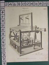 1814 datiert antik print ~ weaving ~ herr austin's engine loom mit shuttle