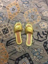 NIB Bottega Veneta RAVELLO SANDALS Yellow GOLD INTRECCIATO CALF Leather 38.5  EU