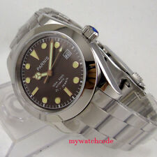 40mm parnis coffee dial sapphire glass folding clasp automatic mens watch P1033