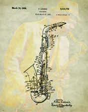 Musical Instruments Patent Poster Art Print Saxophone Band Sheet Music PAT78