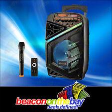 "Bluetooth Party Speaker & Wireless Microphone 150w 8"" Portable DJ PA FM Rec LED"