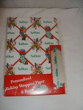 """NEW! PERSONALIZED """"Nathan"""" HOLIDAY WRAPPING PAPER +BOW! Christmas Gift Wrap"""