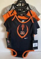 New With Tags Cincinnati Bengals Nike Boy Girl One Piece 3 Pack Size - 18 Month