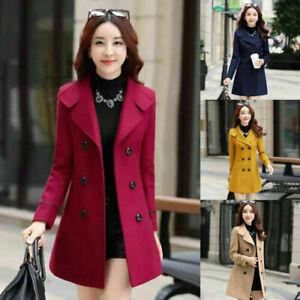 Women Slim Double Breasted Wool Trench Coat Long Jacket Warm Overcoat Outwear UK
