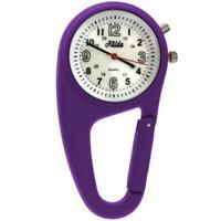 Relda Clip On Nurses Rubberised Purple Carabiner light Pocket Fob Watch REL118