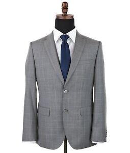 Hugo Boss C-Jays 1 Wool Sport Coat Gray Windowpane Checks Size 36R