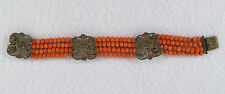 Antique Chinese Natural Un-dyed Salmon Coral Silver Filigree Bracelet