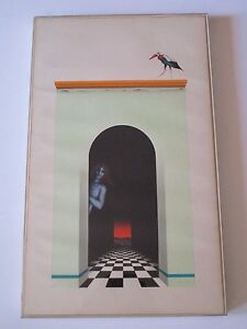 MYSTERY ARTIST 1970'S ABSTRACT PAINTING SURREALISM MODERNISM NUDE HALL GATEWAY