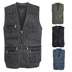 Mens Multi Pocket Vest Jacket Outdoor Fishing Camping Travelling Waistcoat