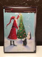 New ! Papyrus Santa tree pinguins Christmas Season Cards (10 pack)