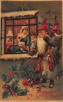 Christmas Postcard Blue Suited Santa Claus Looking In Window Toys Family~123045