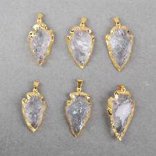 Clearance RANDOM 1 Pcs Arrowhead Natural Crystal Pendant Gold Plated BG0509