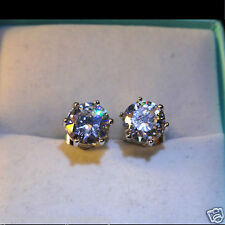 Men's Round 7mm Austrian Crystal 18K White Gold Filled Stud Earrings /UK