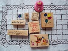 Birthday Rubber Stamps Lot of 9 Princess Crown Pooh Gift Box Celebrate and More