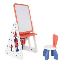 Kids Easel Play Station With Bookshelf ,Back Toyshelf,Drawing Board And Chair