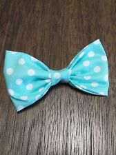 Men Stylish! Easter Spring Teal blue white polka dots Bowtie Bow Tie Clip-on USA