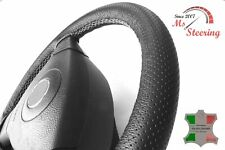 FOR IKCO ARISUN -BLACK PERF LEATHER STEERING WHEEL COVER LIGHT GREY STITCH