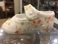 Vintage Antique French Porcelain Floral Flowers Baby Shoe Nursery Planter