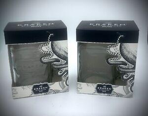 2 X THE KRAKEN BLACK SPICED RUM MASON JARS - GLASSES PUB BAR PAIR TWO HOME