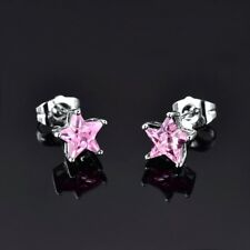 Unique Lady Pink Sapphire Crystal White Gold Filled Exquisite Star Stud Earrings