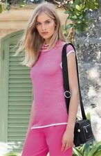 NEW NEXT 14 ladies pink white stripe sleeveless fitted tank top tunic jumper