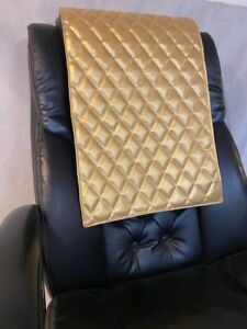GOLD METALLIC quilted recliner sofa chair love seat headrest arm rest leather
