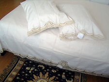 Delicate 3D Flower Hand Crochet Lace Cotton Beige Bed Sheet Skirt King CL