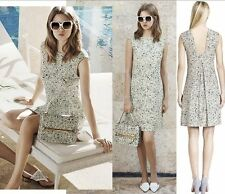 NEW Tory Burch Valerie A-Line Floral Crepe Jersey Dress, White- size S $395