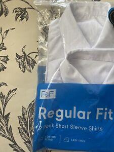 BRAND NEW F&F Boys School Shirts Age 9-10 Years Short SLEEVES 2 pack. 2 shirts