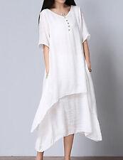 Ladies Dress Midi Short Sleeves Cotton  Sz 4XL White Multi-Layer BNWT