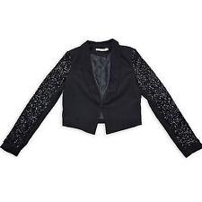 EVA & LOLA Damen Blazer S 36 Pailletten Schwarz Cardigan Jacket Jacke Sakko NEU