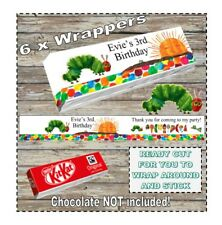6 x Personalised The Very Hungry Caterpillar Chocolate KitKat Wrapper Birthday