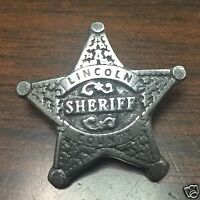 "LINCOLN COUNTY SHERIFF OLD WEST LAWMAN BADGE Made In USA! Obsolete 1"" Hat Pin 16"