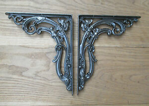 "PAIR OF LARGE 12"" Cast iron vintage floral shelf brackets cistern sink toilet"