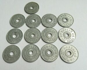 13 Vintage Kansas Sales Tax metal Tokens #1 with center holes
