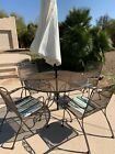 Vintage Wrought Iron Patio Dining Set Table & 4 Chairs Garden Furniture