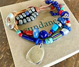 NEW $550 Sundance Catalog JES MAHARRY Lapis Turquoise Leather Beaded Bracelet
