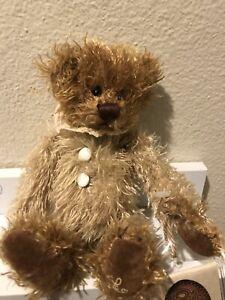 Ganz cottage PIXIE teddy bear CC11004 crochet collar tan brown buttons Lorraine