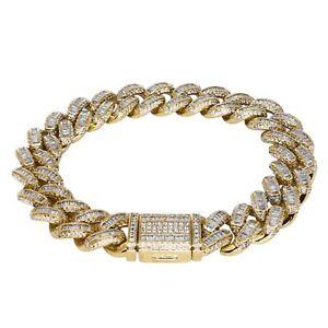 Iced Cuban Link Out VVS Diamond Baguette Bracelet 12mm 18K Gold Plated Rapper