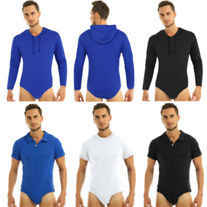 Plus Men Adult One-Piece Shirt Press Crotch Bodysuit Leotard Top Jumpsuit Romper
