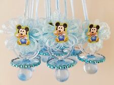 12 Baby Mickey Mouse Blue Pacifier Necklaces Baby Shower Game Boy Favors  Prizes