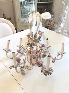 Shabby Vtg Antique Porcelain Rose flower Chandelier french italian style metal