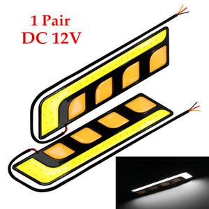 1 Pair COB LED Car Light DRL Lamp Turn Signal Light  Shape+Amber Waterproof Kit