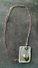 Sterling Silver dog tag pendant with rose gold heart on a rose gold filled chain