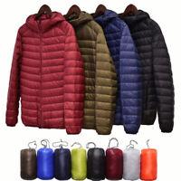 Packable Men's Ultralight Hooded Duck Down Jacket Puffer Outerwear Winter Coat