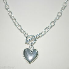 """Chain Heart Charm Toggle Necklace 18"""" 45cm Sterling Silver 925 Cable"""