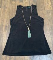 Lauren Ralph Lauren Pullover Blouse Women's Size Medium Black Sleeveless Zipper