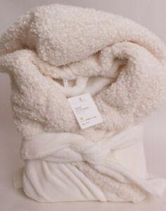 Pottery Barn Teddy Trim Faux Fur bath robe Small S, Ivory