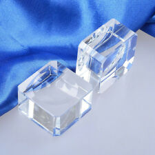 Clear Crystal Sphere Block Rocks Base Stand Holder Dimple Ball Stone Home Decor
