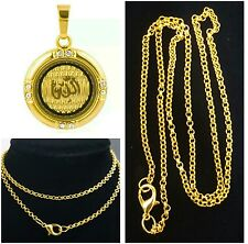 """Small But Elegant Islamic""""ALLAH""""Gold plated Cubic Zirconia Stone Pendant necklac"""